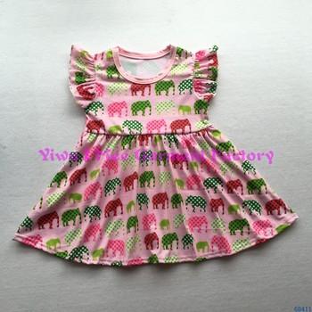 cbc106070 Cute Little Girls Cotton Frock Dresses Boutique Kids Elephant Print ...