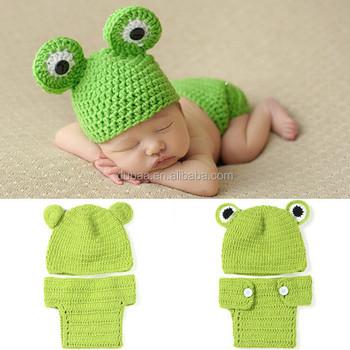 Baby Kind Kleinkind Kostüm Stricken Fotografie Prop Frosch Häkeln