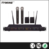 Tymine Professional 4 Channel UHF wireless mic with 2 Handheld+2 Bodypack+2 headset TM-U400
