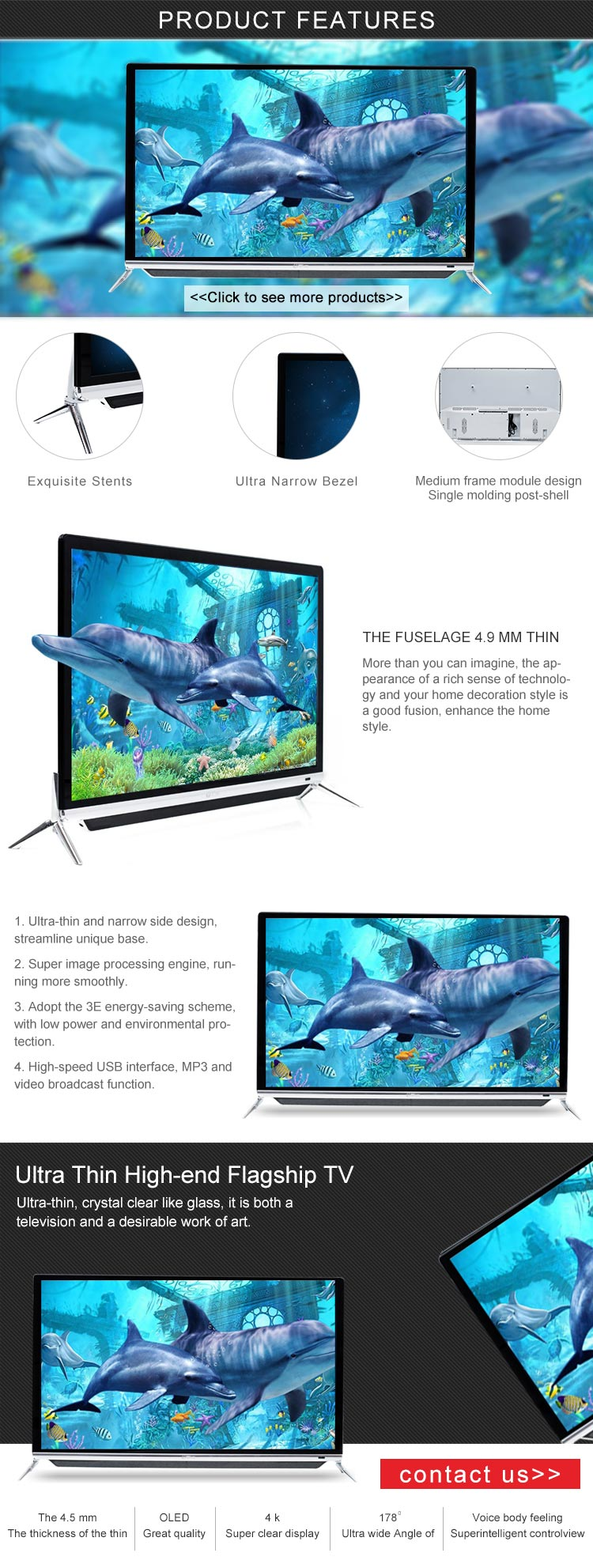 Popular television 39'' E LED TV television with Narrow frame design and USB play video