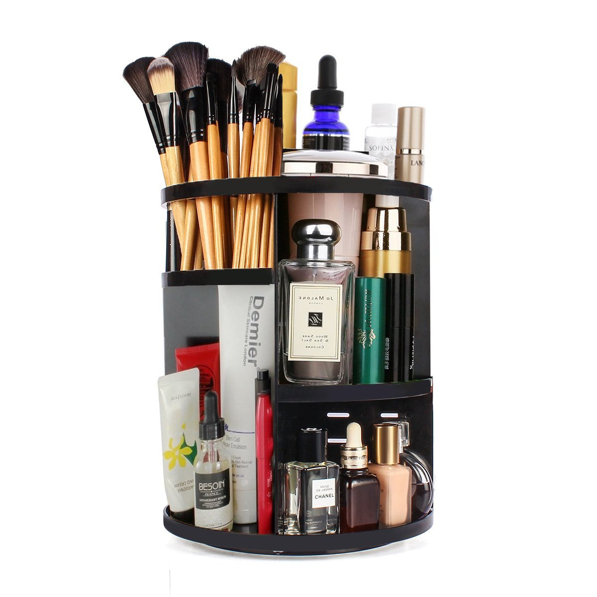 Makeup Cosmetic Organizer, KEBE 360-Degree Rotating DIY Detachable Multi-Function Cosmetics Organizer Box, Large Capacity Adjustable Cosmetic Storage Unit Great for Countertop and Bathroom,Black