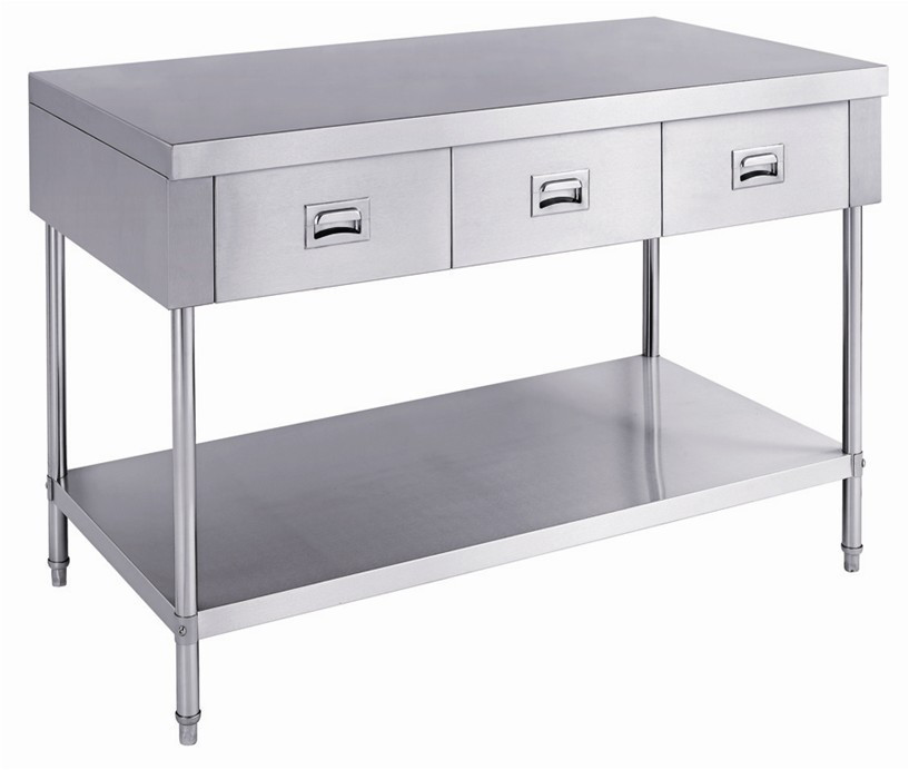 Heavy duty stainless steel kitchen work table with 4 for Stainless steel drawers kitchen