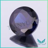 Artificial gem wholesale loose gemstones 35# round shape deep aquamarine gemstone prices