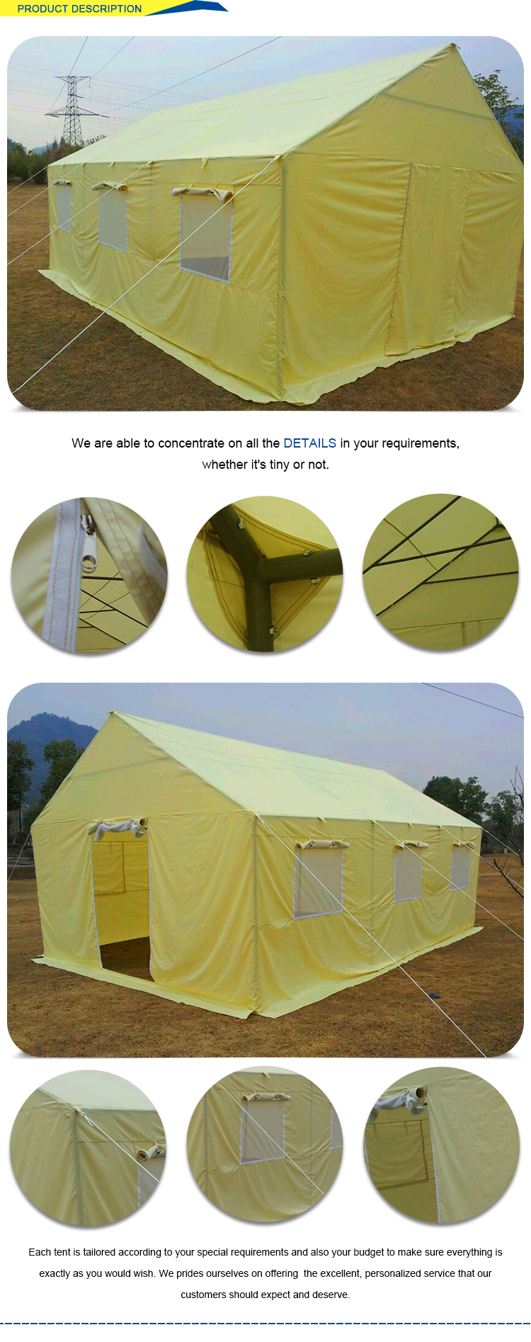 Water proof fire proof large capacity relief tent