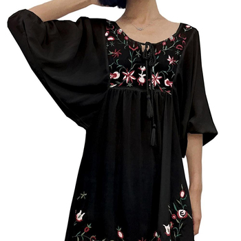Women's Bohemian Embroidery Floral Tunic Shift flower Mini Dress