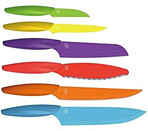 Kitchen Knife Set By Gela Global – 6 Different Knifes That Can Serve All Your Needs – Durable Stainless Steel Blades – Unbreakable, Slip Resistant Plastic Handles – Black Or Multicolor – Gift Box