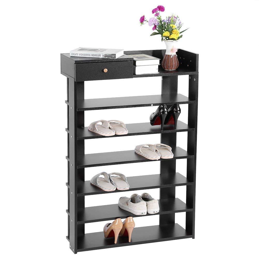 Greensen Shoe Rack, 6 Tires Shoe Storage Shelves Shoe Tower Organizer Cabinet with Drawer shoes cabinet(Black)