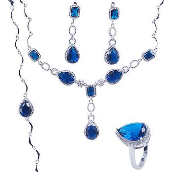 60b30d975 Ródio Claro Prata Atacado Azul Safira Colar Brincos Conjunto De Jóias De  Casamento Nupcial