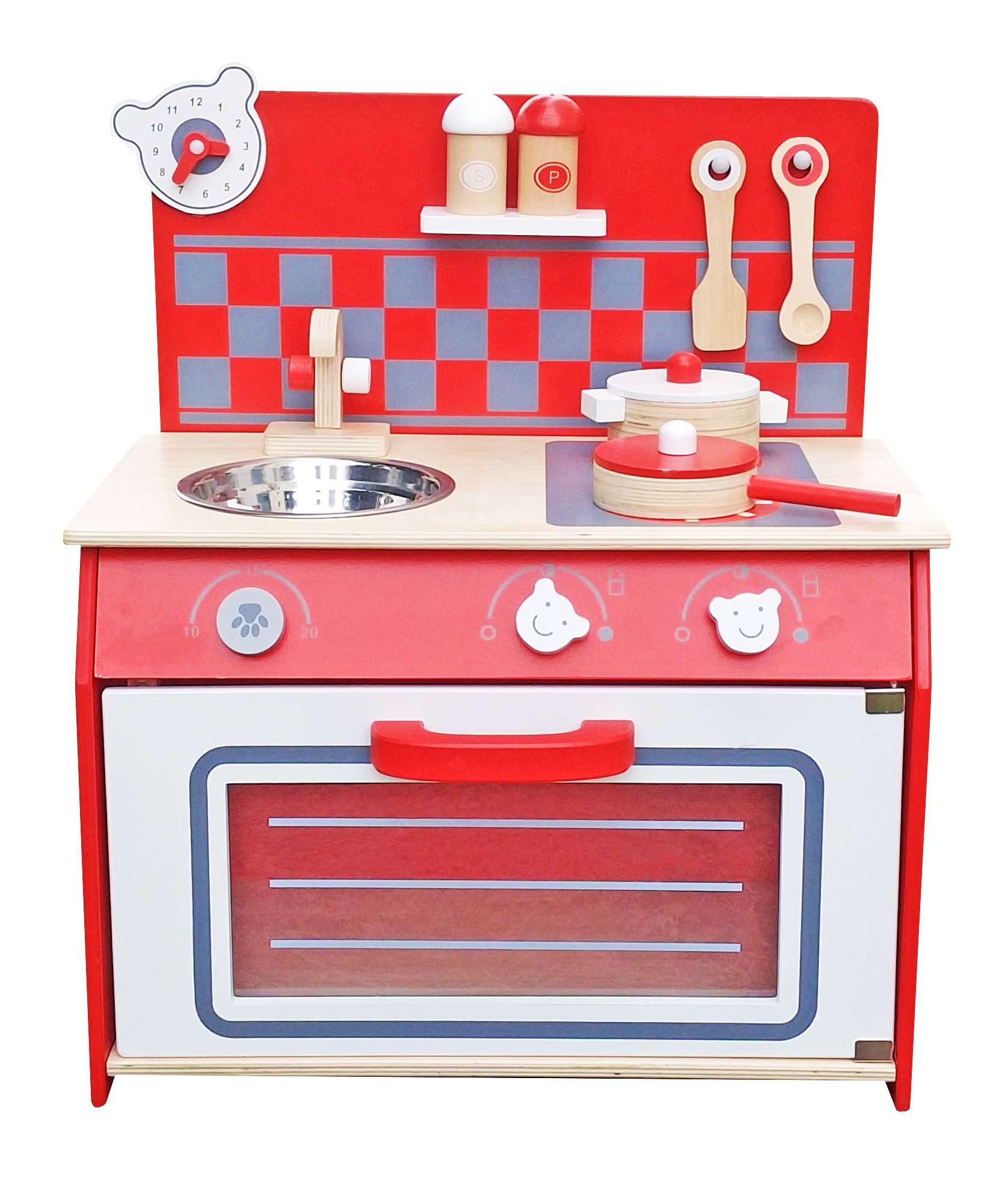Deluxe kids wooden kitchen toy little chef cooking pretend children role play set with accessories by