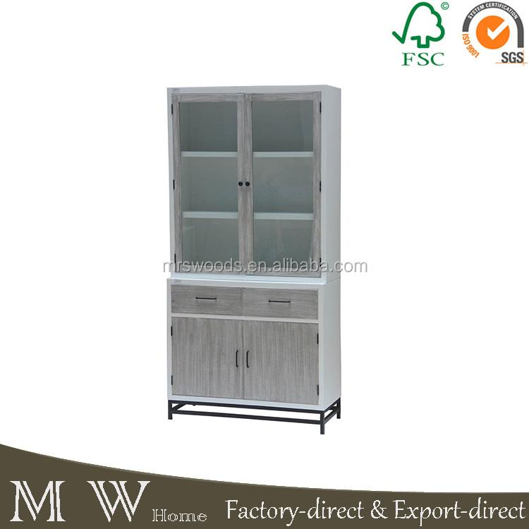 mayorista de metal marco de madera esquina estantera vitrina gabinete