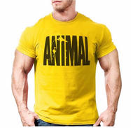 Custom Animal printing tracksuit t shirt muscle shirt Trends in 2016 fitness for men