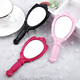 Wholesale handle personal makeup tools cosmetic mirror plastic fancy shaped makeup mirror for child women girl