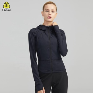 Zip up yoga sports wear tops arm holes long sleeve womens gym jacket