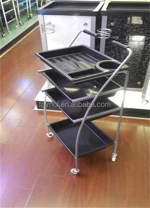 F-006 Plastic Storage Rolling Salon Color Trolley With Handle Hairdressing Salon Trolley