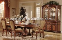 Unique Original Luxury Cherry Carved Dining Set with Buffet and Hutch & High End Pedstal Dining Table Set