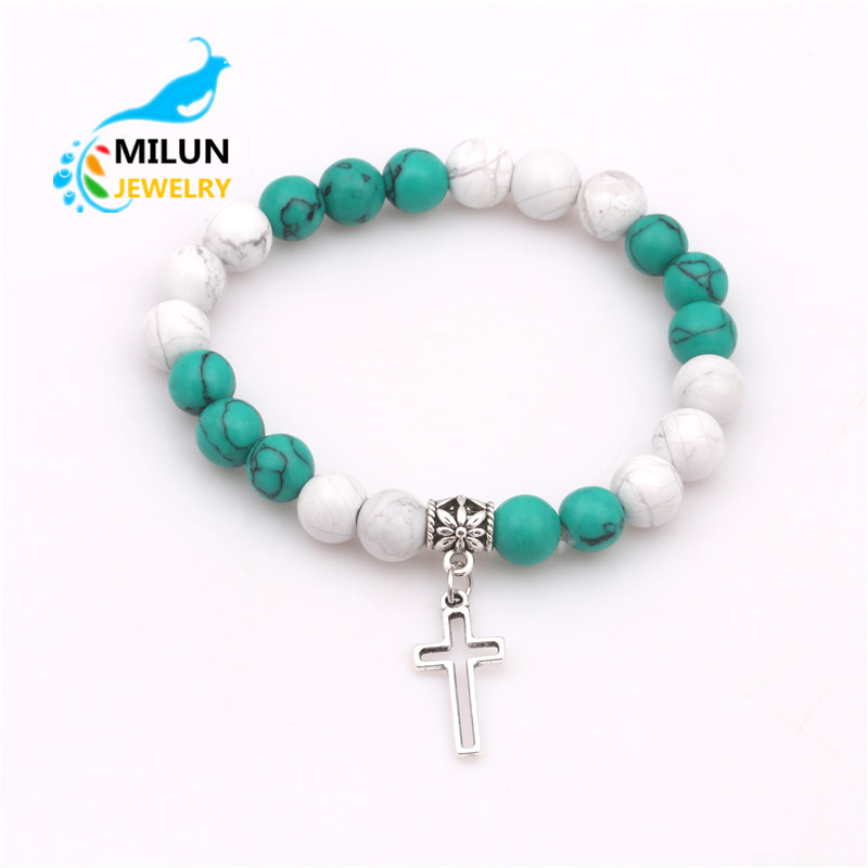 Cheap items to sell new arrivals 2018 natural stone bead cross charm bracelet