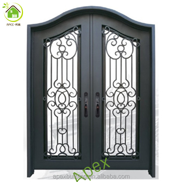 Arc top front door with iron and glass security iron doors front doors