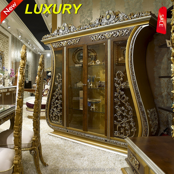 AA33 1 Luxury Dining Room Wine Cabinet Display Baroque Style Four