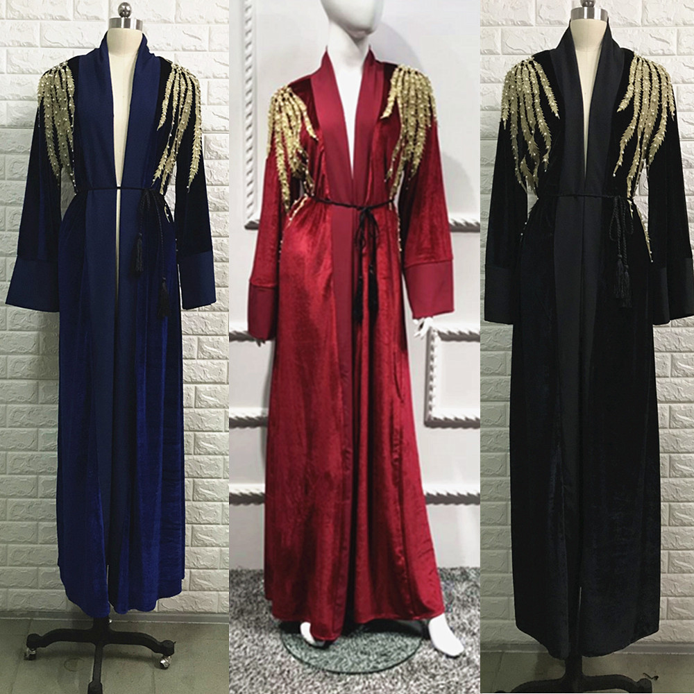 High fashionable velvet with gold lace and pearl kaftan maxi dress muslim women front open abaya