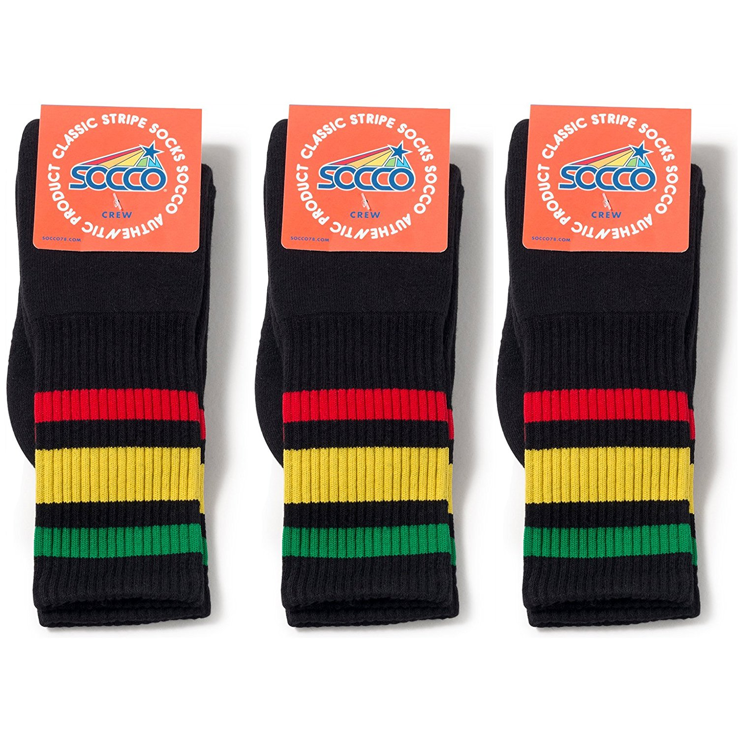 Socco Socks Unisex Black Triple Striped Rasta Green/Yellow / Red Crew Tube Socks Bundle of 3 Pairs - Large/X-Large (10-13)