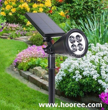 Hooree SL-50A White/Yellow/Green 5Lighting mode 4pcs DIP diameter 10 LED Outdoor Solar Spotlight