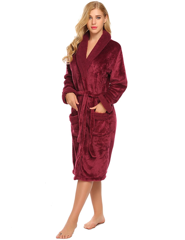 33c8ebb2f1 Get Quotations · Ekouaer Fleece Flannel Robe Hooded Short Bathrobe With  Side Pockets Winter Sleepwear