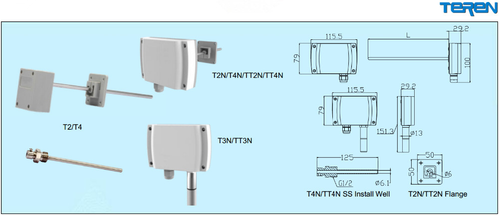 TEREN temperature sensor transmitter wall mount, duct mount, outside ...