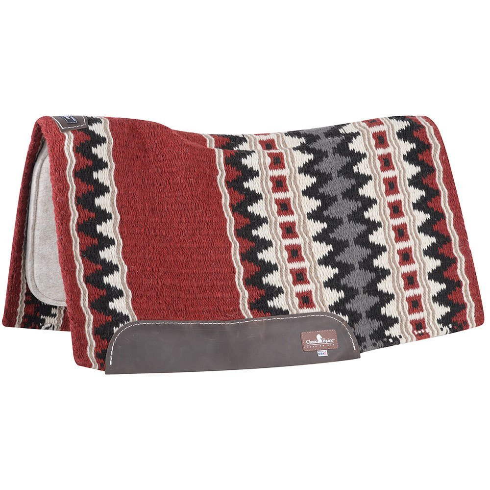 Contour Wool Top Felt 34 x 38 Saddle Pad Red/Black 34X38 Red/Black/Grey