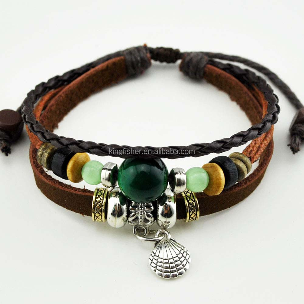 Adjustable size jewelry alloy shell charm pendant wood beads braided girls leather bracelet stock