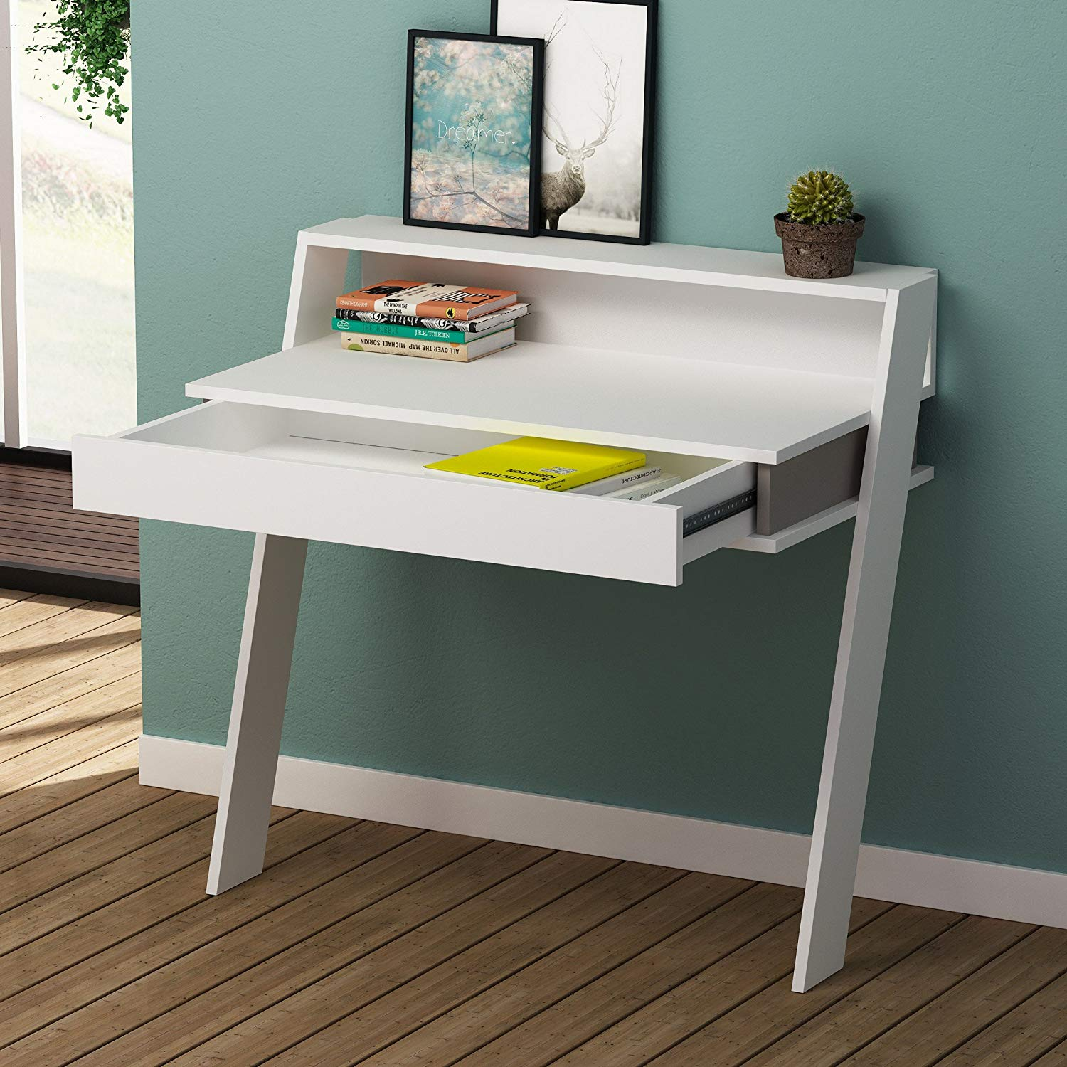 White Gray Study Desk with Drawer, 100% Melamine Coated Particle Board - Functional Modern Computer Desk, Study & Laptop Table for Home, Office, Living Room, Study Room
