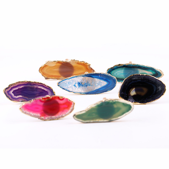 Yase Yiwu manufacturers wholesale rings semi-precious stone agate low price natural agate slices hot sale new rings