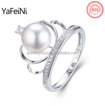 Crystal Diamond Queen Crown Design Pearl Ring Ebay Hot Sale White