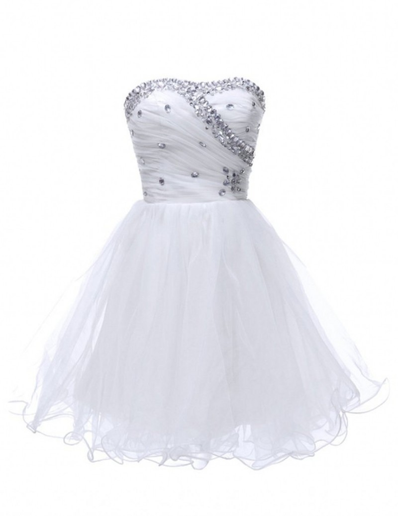 Buy Custom Made Sleeveless Beaded White Homecoming Dresses Short 8th