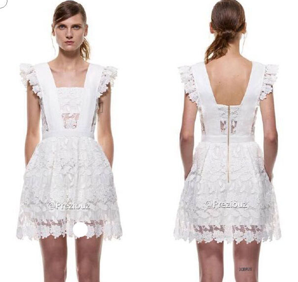 cc2c0c49436e3 Get Quotations · SELF PORTRAIT Dress original TABEL 2015 New Summer Style  Backless Halter White Lace Mini Dress Pouf