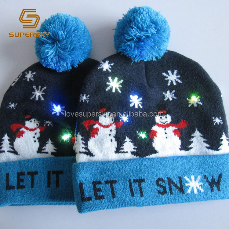7816352d86ab0 A731 Light Up Christmas Hat LED Lights Cuff Pom Pom Beanie LED Light  Holiday Beanie