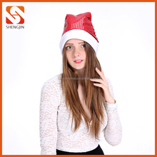 Whole Christmas Holiday Hat Decoration Customized Color Sequin Santa Hats