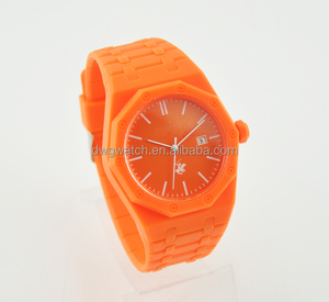 customized design monocromatic color octagon case plastic wrist watch