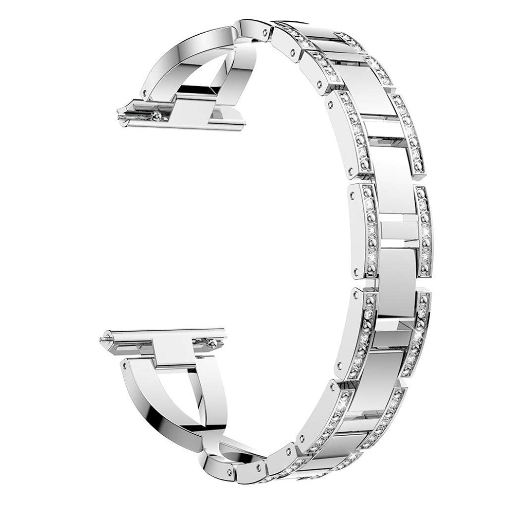 Fenebort Stainless Steel Replacement Bracelet Watch Strap, Quick Release Alloy Stainless Steel Replacement Wristband Female with Crystal for Fitbit Versa