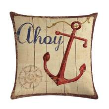 Наволочка с изображением компаса в ретро стиле, наволочка с изображением якоря, наволочка с изображением морского корабля, декоративная на...(Китай)