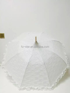 GD China fashion design European style WHITE LACE PARASOL