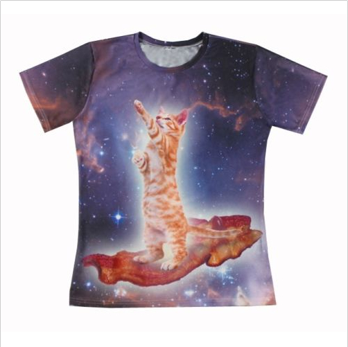 2015 New Galaxy Animal printing short sleeves men/women Bacon Cat 3D All Over Print T shirt Casual t shirt Free shipping