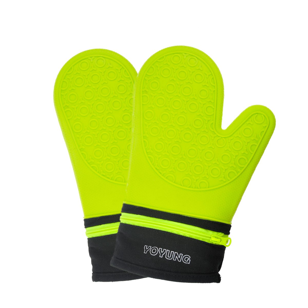 Detachable Silicone Oven Mitt - Oven Mitts with Quilted Cotton Lining - 1 Pair of Professional Heat Resistant Potholder Gloves - Washable - Green