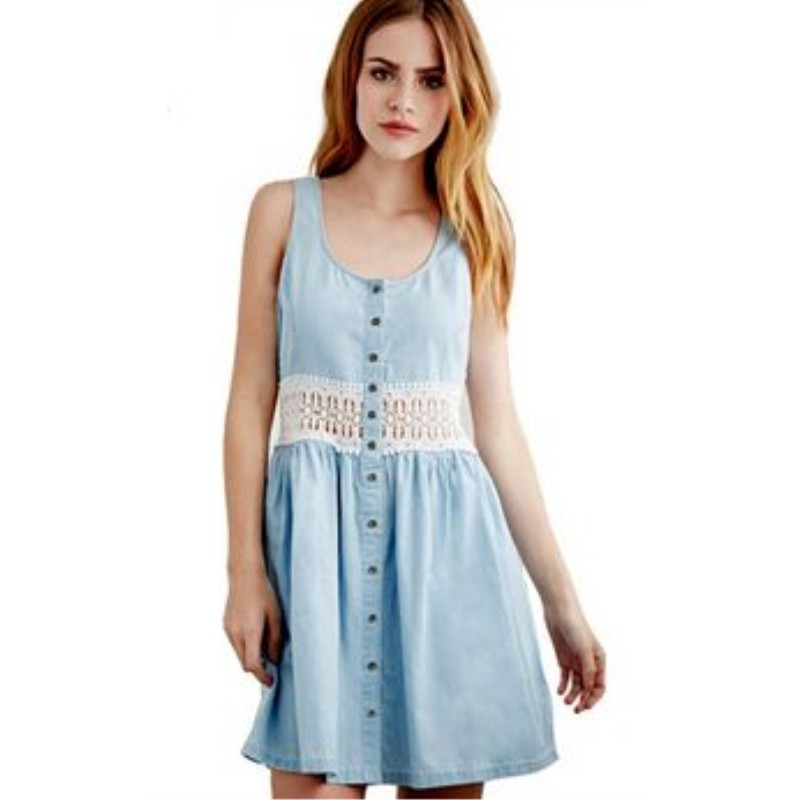 Womens Summer Dress 2015 Vestidos Sexy Denim Dresses Women Lace Sleeveless Ladies Casual Dresses Patchwork Plus Size Blue Dress