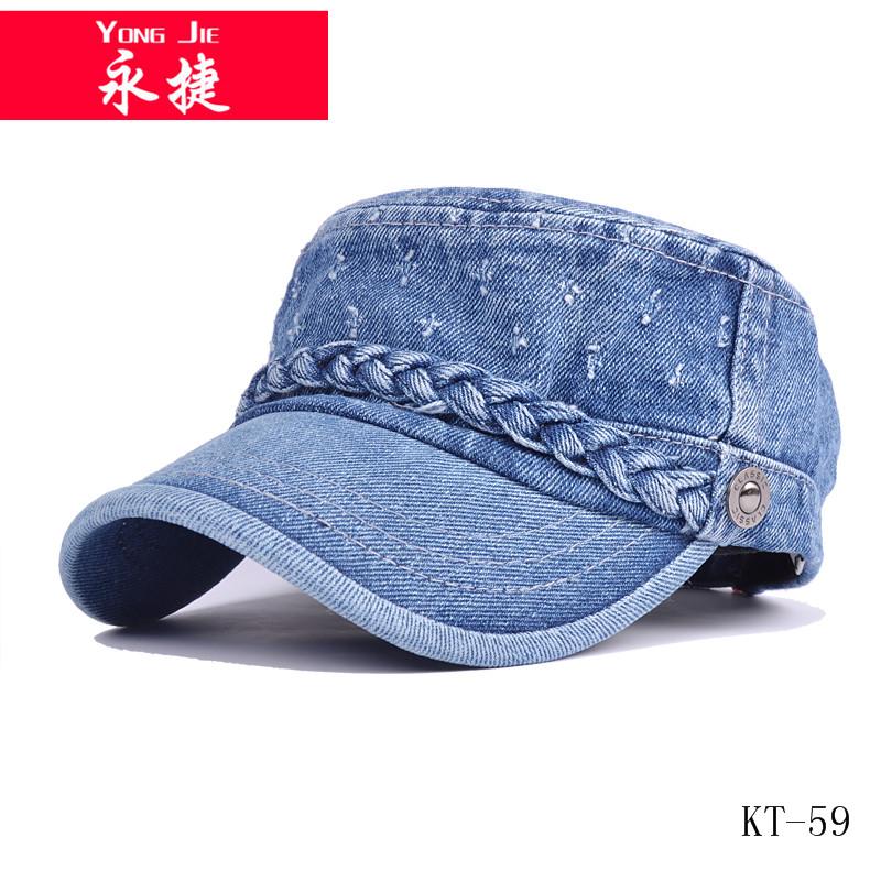 Latest style basbeall caps and hat hot sale plain jeans military cap  wholesale 780c8bce0f7