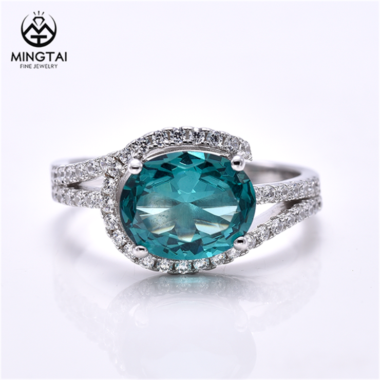 Micro pave 제목 '으로 설정 흰 금 plated 925 sterling silver rings 대 한 women, 링 paraiba