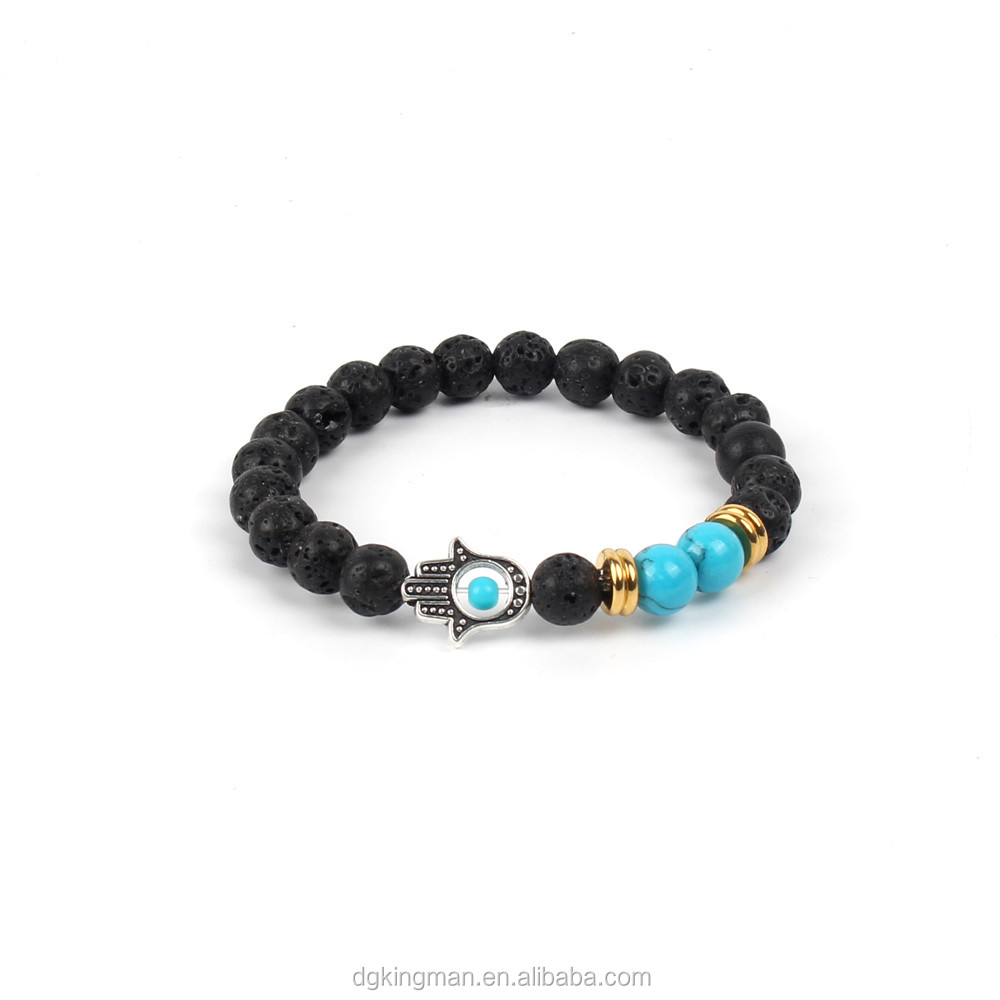 pure natural stone bead black lava blue turquoise Chinese bracelet
