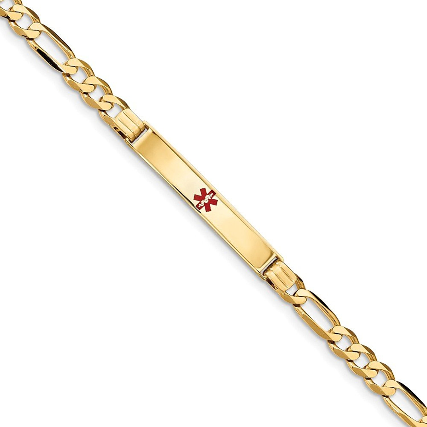 Top 10 Jewelry Gift 14K Medical Red Enamel Figaro ID Bracelet