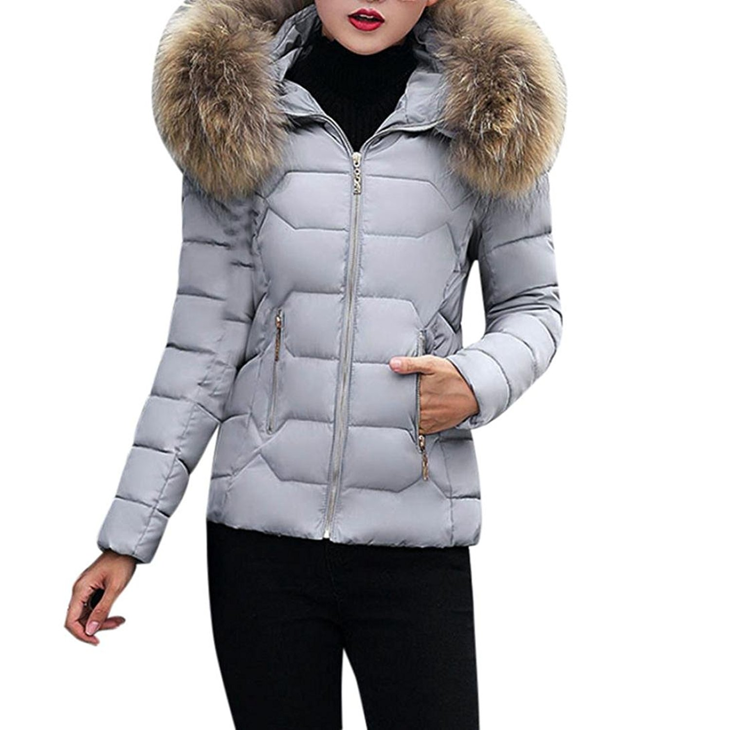 Cywulin Women Coat,Casual Winter Warm Solid Thicker Slim Rhombus Overcoat