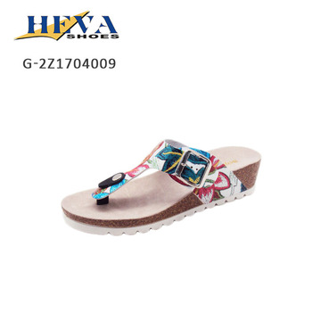 35093c41e New Fashion Wear Stud Thong Cork Sole Thong Strap Sandals Low Wedge Heel  Open Toe Summer