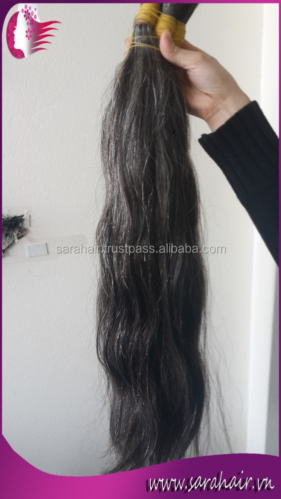 100% virgin Vietnamese human hair extensions double drawn silver grey hair wefts white hair extension weft